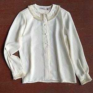 Vintage Worthington pearl beaded blouse